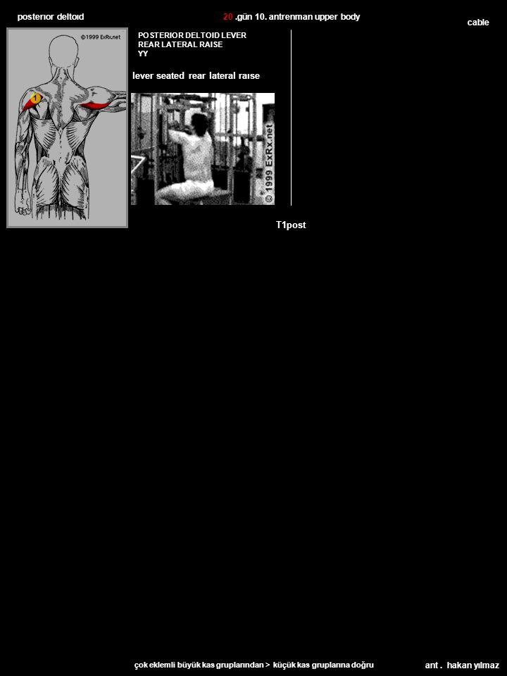 ant. hakan yılmaz posterıor deltoıd cable T1post POSTERIOR DELTOID LEVER REAR LATERAL RAISE YY 20.gün 10. antrenman upper body çok eklemli büyük kas g