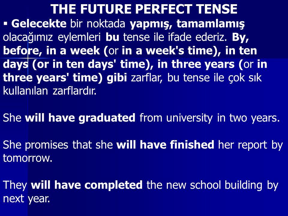 THE FUTURE PERFECT TENSE  Gelecekte bir noktada yapmış, tamamlamış olacağımız eylemleri bu tense ile ifade ederiz.
