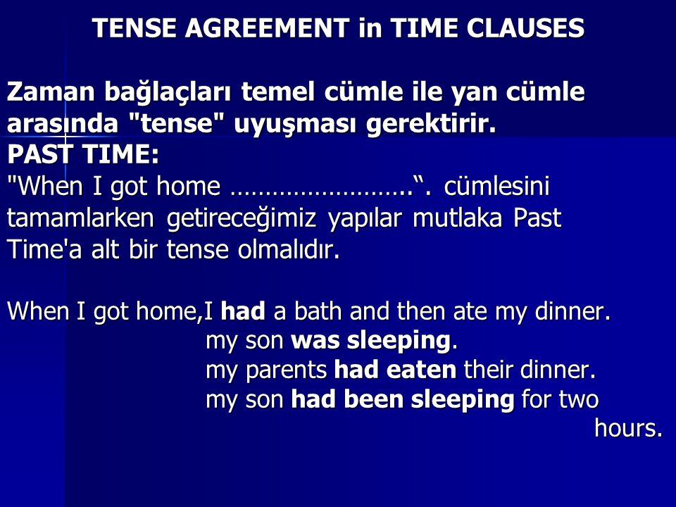 TENSE AGREEMENT in TIME CLAUSES Zaman bağlaçları temel cümle ile yan cümle arasında tense uyuşması gerektirir.