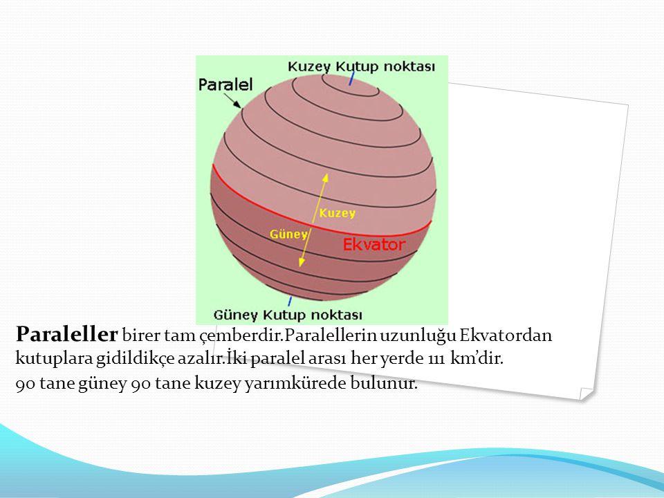 Paraleller birer tam çemberdir.Paralellerin uzunluğu Ekvatordan kutuplara gidildikçe azalır.İki paralel arası her yerde 111 km'dir.