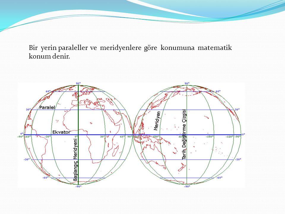 Bir yerin paraleller ve meridyenlere göre konumuna matematik konum denir.