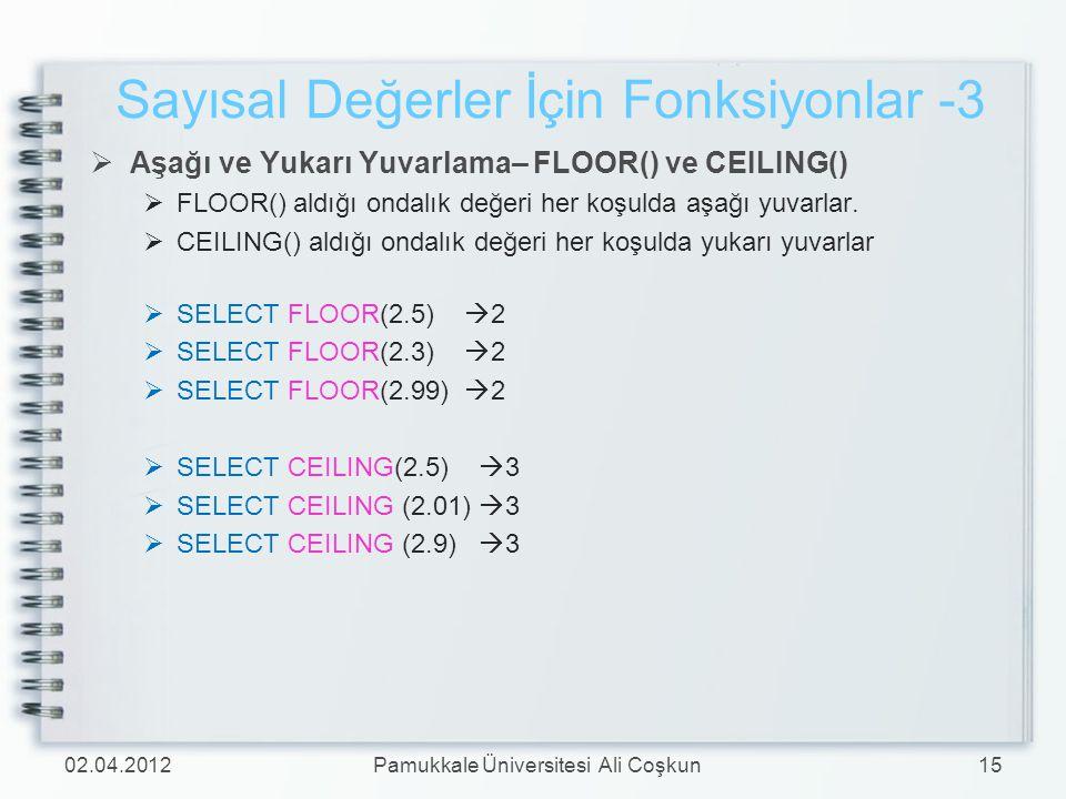  Aşağı ve Yukarı Yuvarlama– FLOOR() ve CEILING()  FLOOR() aldığı ondalık değeri her koşulda aşağı yuvarlar.  CEILING() aldığı ondalık değeri her ko