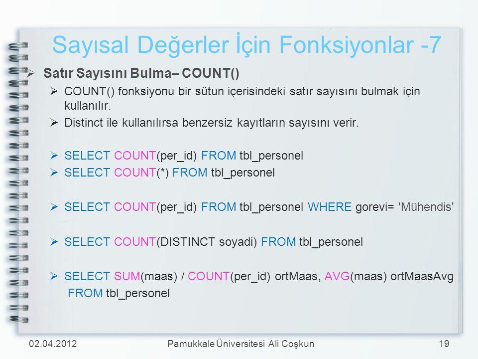  Satır Sayısını Bulma– COUNT()  COUNT() fonksiyonu bir sütun içerisindeki satır sayısını bulmak için kullanılır.  Distinct ile kullanılırsa benzers