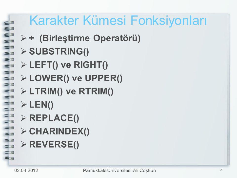 Karakter Kümesi Fonksiyonları  + (Birleştirme Operatörü)  SUBSTRING()  LEFT() ve RIGHT()  LOWER() ve UPPER()  LTRIM() ve RTRIM()  LEN()  REPLAC