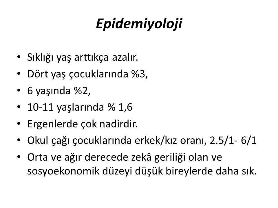 Epidemiyoloji Sıklığı yaş arttıkça azalır. Dört yaş çocuklarında %3, 6 yaşında %2, 10-11 yaşlarında % 1,6 Ergenlerde çok nadirdir. Okul çağı çocukları
