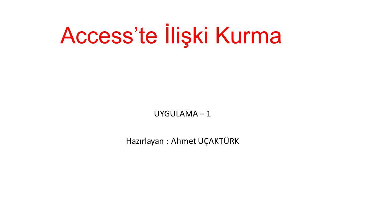 Access'te İlişki Kurma UYGULAMA – 1 Hazırlayan : Ahmet UÇAKTÜRK