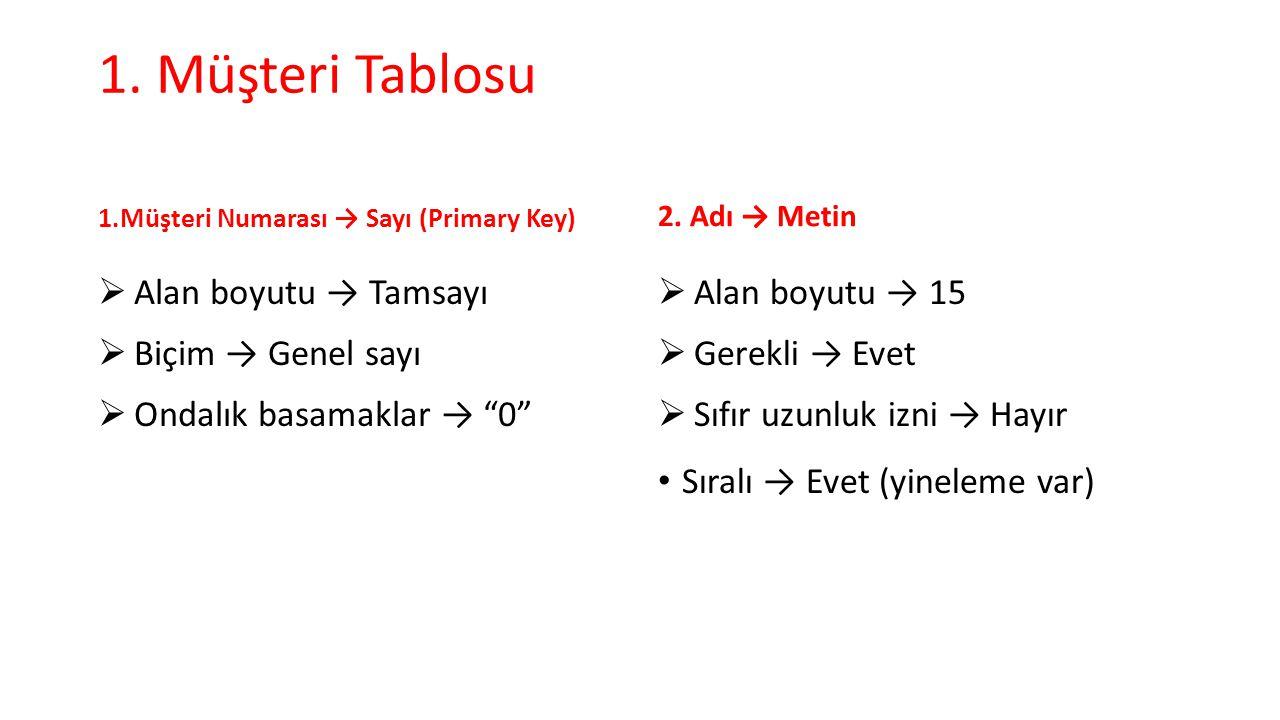 """1. Müşteri Tablosu 1.Müşteri Numarası → Sayı (Primary Key)  Alan boyutu → Tamsayı  Biçim → Genel sayı  Ondalık basamaklar → """"0"""" 2. Adı → Metin  Al"""