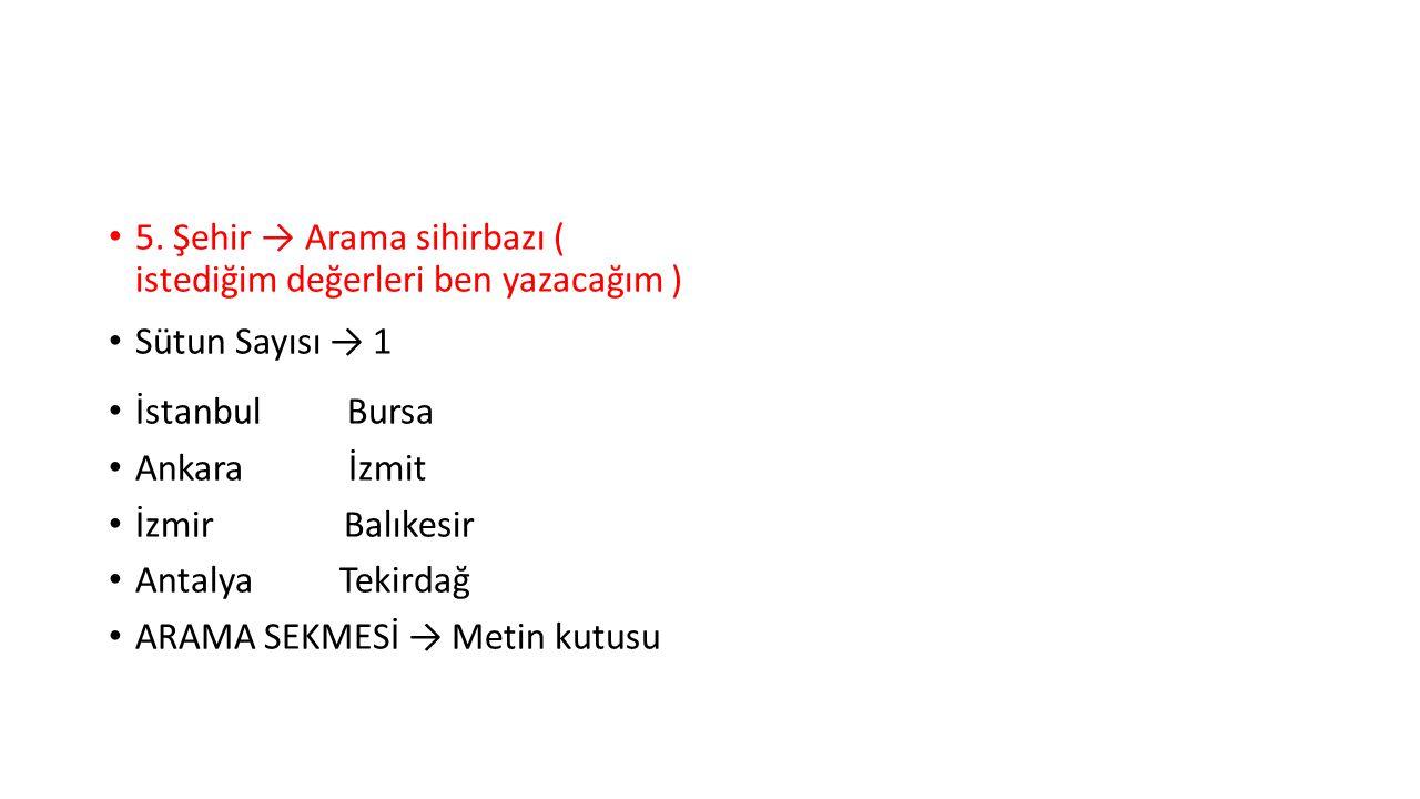 5. Şehir → Arama sihirbazı ( istediğim değerleri ben yazacağım ) Sütun Sayısı → 1 İstanbul Bursa Ankara İzmit İzmir Balıkesir Antalya Tekirdağ ARAMA S