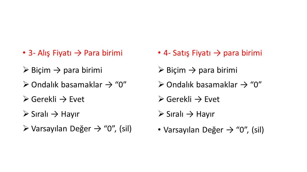 5- Toptancı Numarası → Sayı  Alan boyutu → Tam sayı  Biçim → Genel sayı  Ondalık basamaklar → 0  Gerekli → Evet  Sıralı → Hayır  Varsayılan Değer → 0 , (sil)