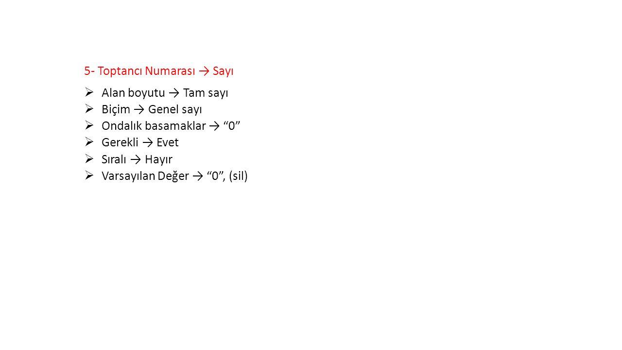 """5- Toptancı Numarası → Sayı  Alan boyutu → Tam sayı  Biçim → Genel sayı  Ondalık basamaklar → """"0""""  Gerekli → Evet  Sıralı → Hayır  Varsayılan De"""