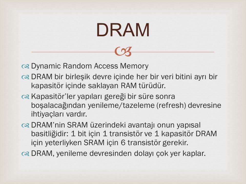   Dynamic Random Access Memory  DRAM bir birleşik devre içinde her bir veri bitini ayrı bir kapasitör içinde saklayan RAM türüdür.