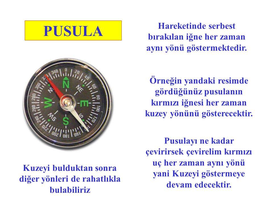 PUSULA Pusula yönleri bulmak amacıyla kullandığımız alettir. Pusula günümüzden yaklaşık olarak 1700 yıl önce ( Milattan sonra 300'lü yıllarda ) Çinlil