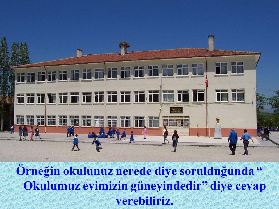 Örneğin okulunuz nerede diye sorulduğunda Okulumuz evimizin güneyindedir diye cevap verebiliriz.