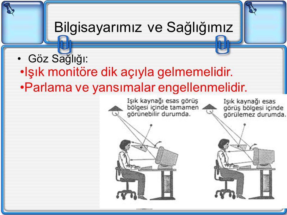 Bilgisayarımız ve Sağlığımız Göz Sağlığı: Işık monitöre dik açıyla gelmemelidir. Parlama ve yansımalar engellenmelidir.