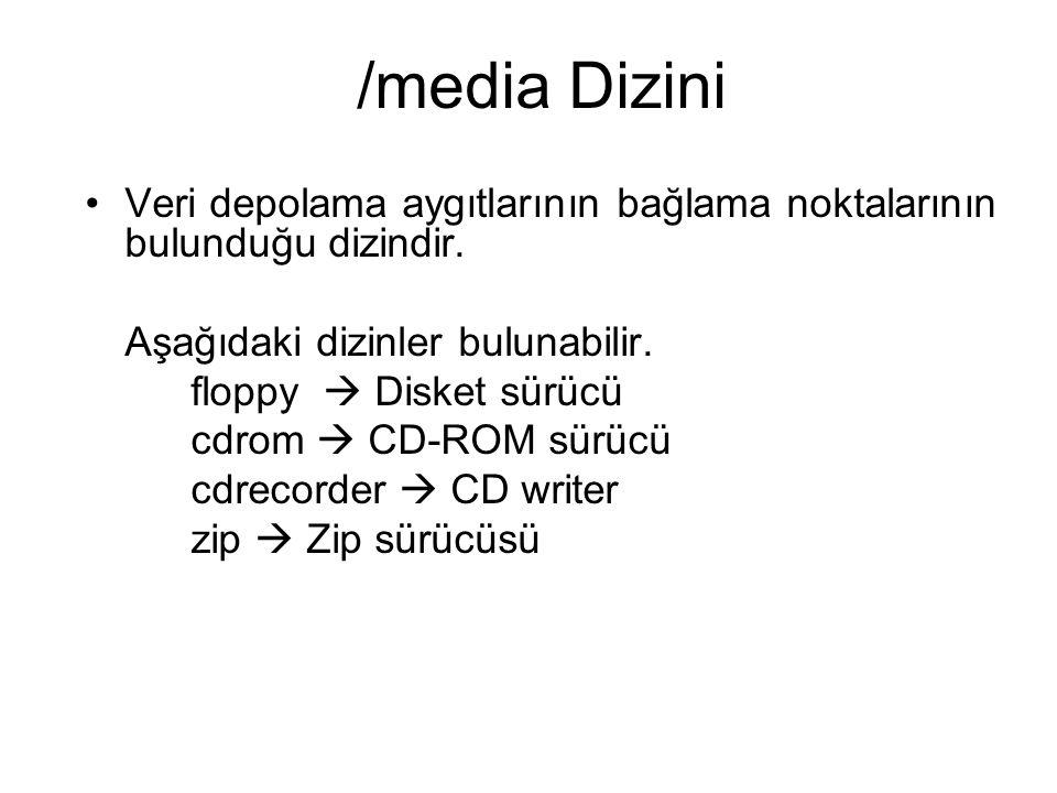 /media Dizini Veri depolama aygıtlarının bağlama noktalarının bulunduğu dizindir. Aşağıdaki dizinler bulunabilir. floppy  Disket sürücü cdrom  CD-RO