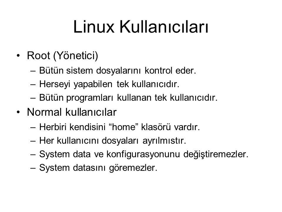 Linux Kullanıcıları Root (Yönetici) –Bütün sistem dosyalarını kontrol eder. –Herseyi yapabilen tek kullanıcıdır. –Bütün programları kullanan tek kulla