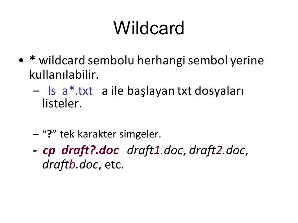 """Wildcard * wildcard sembolu herhangi sembol yerine kullanılabilir. –ls a*.txt a ile başlayan txt dosyaları listeler. –""""?"""" tek karakter simgeler. - cp"""
