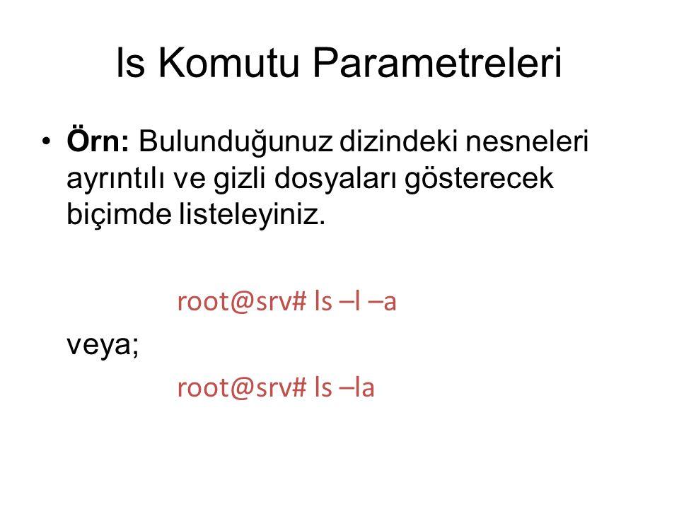 Örn: Bulunduğunuz dizindeki nesneleri ayrıntılı ve gizli dosyaları gösterecek biçimde listeleyiniz. root@srv# ls –l –a veya; root@srv# ls –la ls Komut