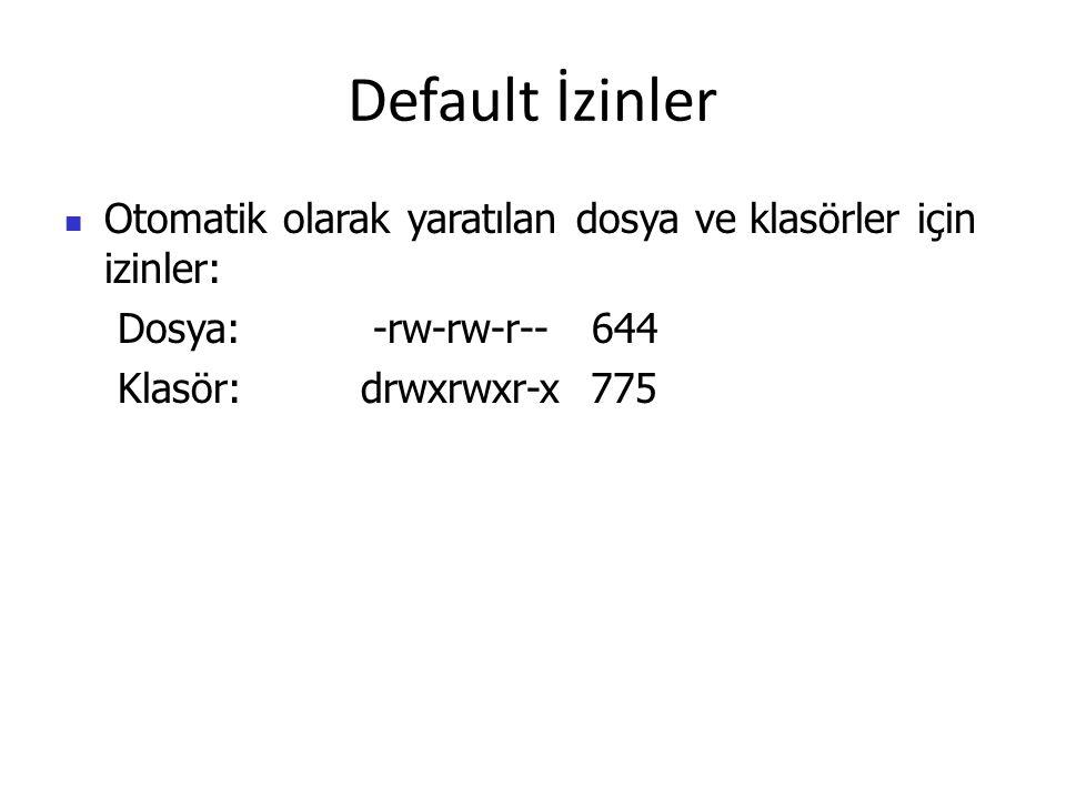 Default İzinler Otomatik olarak yaratılan dosya ve klasörler için izinler: Dosya: -rw-rw-r-- 644 Klasör: drwxrwxr-x 775