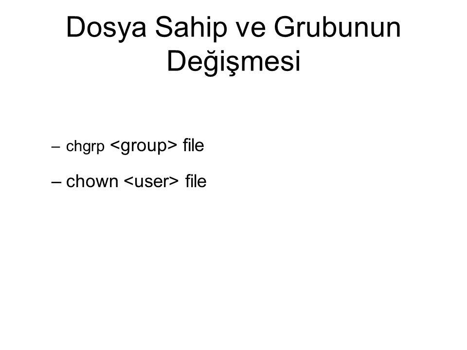 Dosya Sahip ve Grubunun Değişmesi –chgrp file –chown file