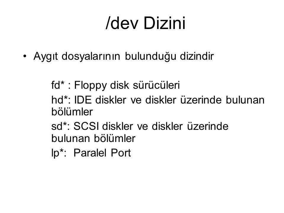/dev Dizini Aygıt dosyalarının bulunduğu dizindir fd* : Floppy disk sürücüleri hd*: IDE diskler ve diskler üzerinde bulunan bölümler sd*: SCSI diskler