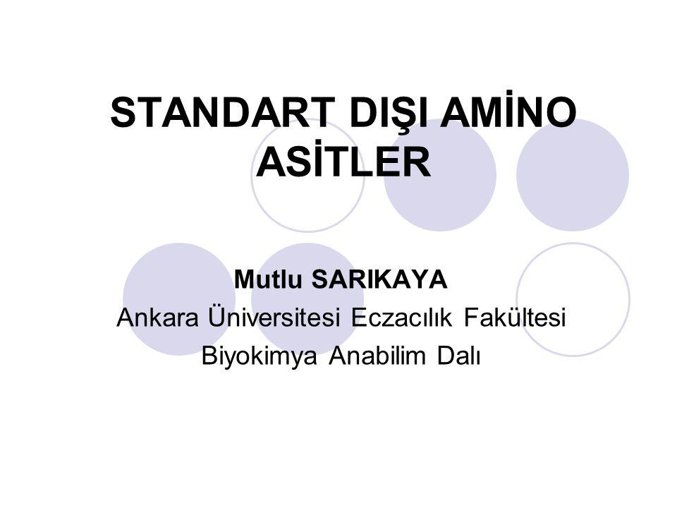 STANDART DIŞI AMİNO ASİTLER Mutlu SARIKAYA Ankara Üniversitesi Eczacılık Fakültesi Biyokimya Anabilim Dalı