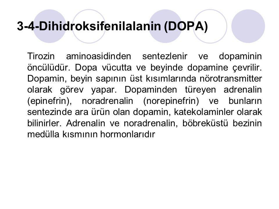 3-4-Dihidroksifenilalanin (DOPA) Tirozin aminoasidinden sentezlenir ve dopaminin öncülüdür.