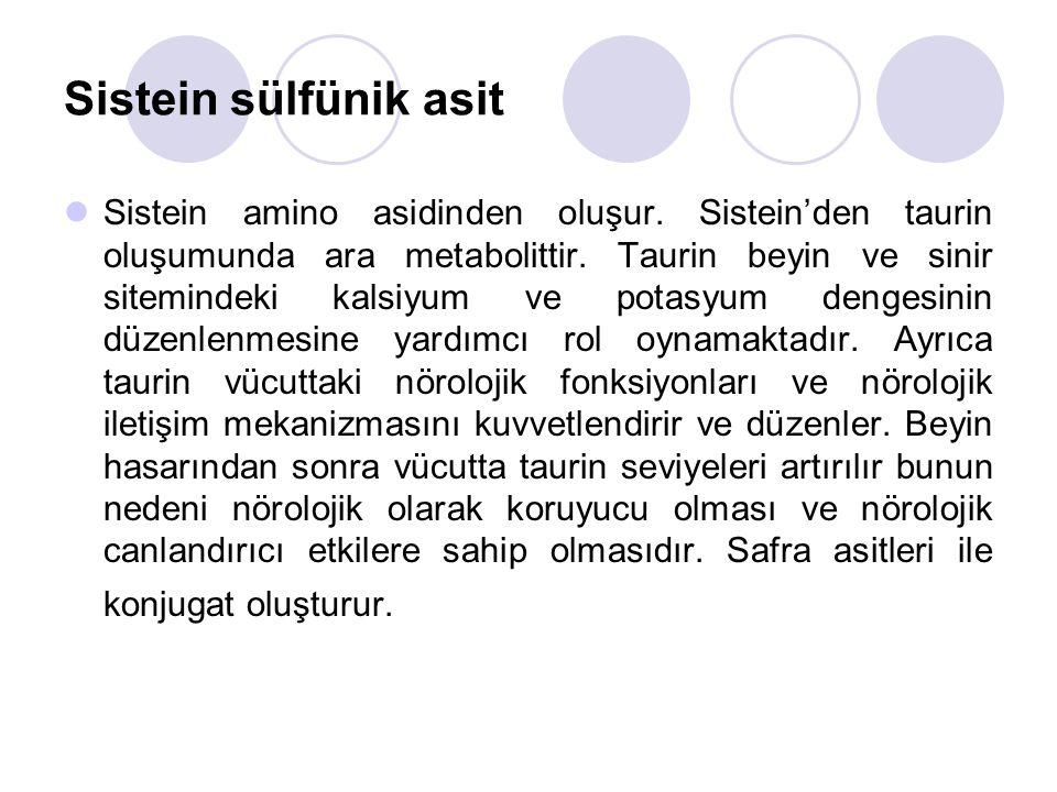 Sistein sülfünik asit Sistein amino asidinden oluşur.