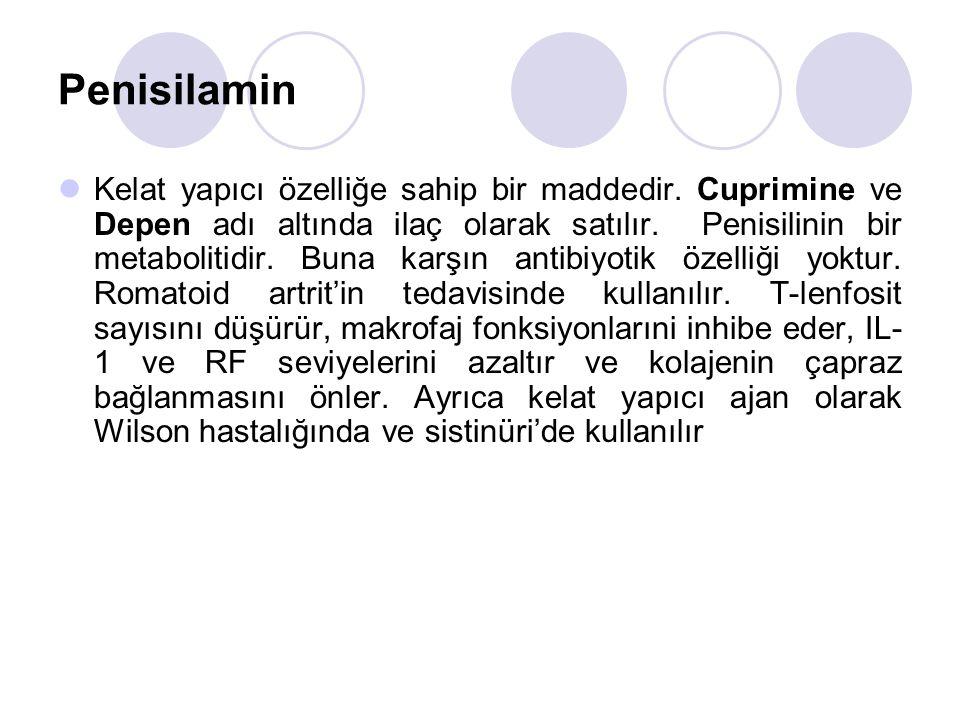 Penisilamin Kelat yapıcı özelliğe sahip bir maddedir.