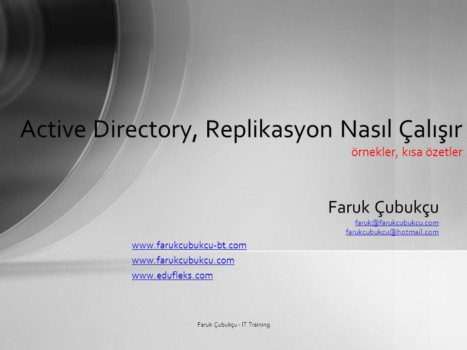 Faruk Çubukçu faruk@farukcubukcu.com farukcubukcu@hotmail.com www.farukcubukcu-bt.com www.farukcubukcu.com www.edufleks.com Active Directory, Replikas