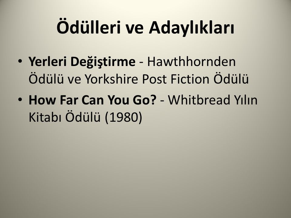 Ödülleri ve Adaylıkları Yerleri Değiştirme - Hawthhornden Ödülü ve Yorkshire Post Fiction Ödülü How Far Can You Go.