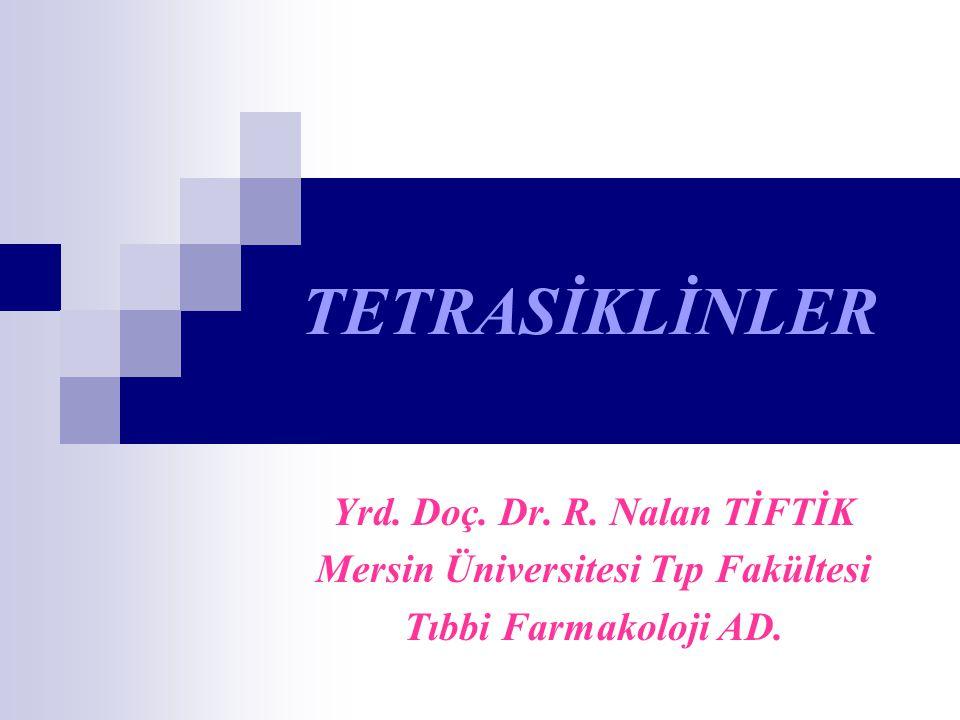 TETRASİKLİNLER Yrd. Doç. Dr. R. Nalan TİFTİK Mersin Üniversitesi Tıp Fakültesi Tıbbi Farmakoloji AD.
