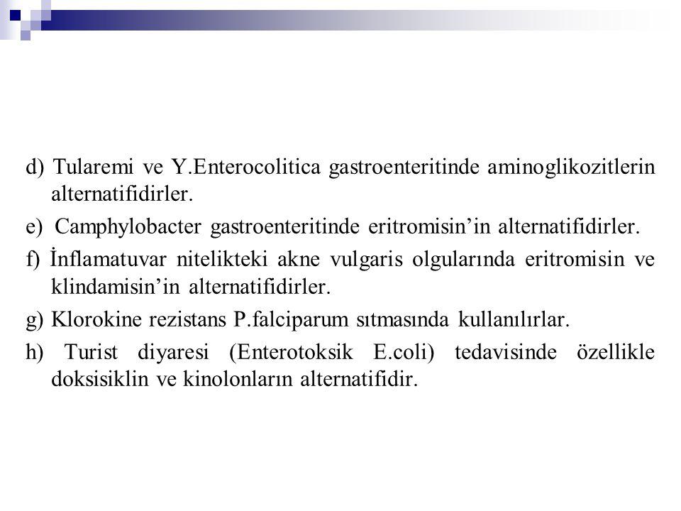 d) Tularemi ve Y.Enterocolitica gastroenteritinde aminoglikozitlerin alternatifidirler. e) Camphylobacter gastroenteritinde eritromisin'in alternatifi