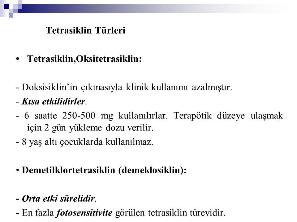 Tetrasiklin Türleri Tetrasiklin,Oksitetrasiklin: - Doksisiklin'in çıkmasıyla klinik kullanımı azalmıştır. - Kısa etkilidirler. - 6 saatte 250-500 mg k
