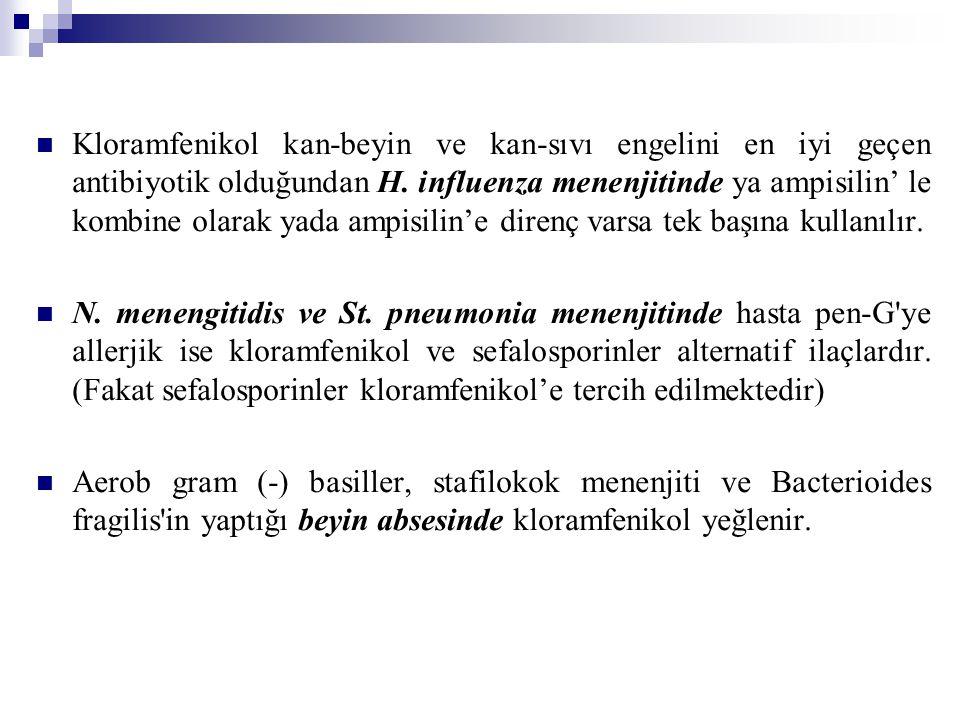 Kloramfenikol kan-beyin ve kan-sıvı engelini en iyi geçen antibiyotik olduğundan H.
