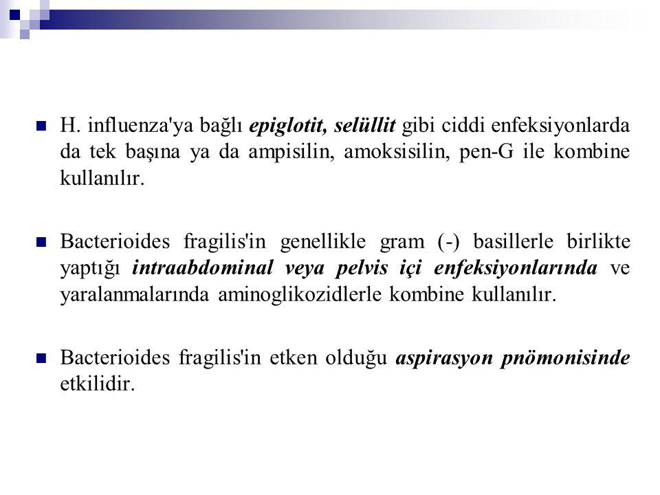 H. influenza'ya bağlı epiglotit, selüllit gibi ciddi enfeksiyonlarda da tek başına ya da ampisilin, amoksisilin, pen-G ile kombine kullanılır. Bacteri
