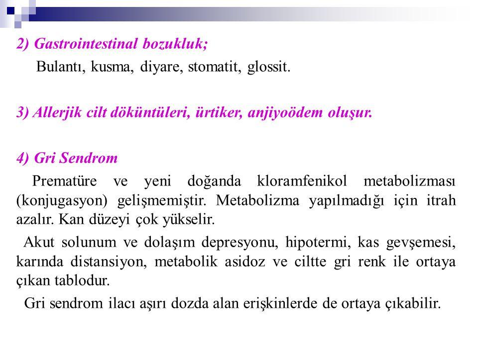 2) Gastrointestinal bozukluk; Bulantı, kusma, diyare, stomatit, glossit. 3) Allerjik cilt döküntüleri, ürtiker, anjiyoödem oluşur. 4) Gri Sendrom Prem
