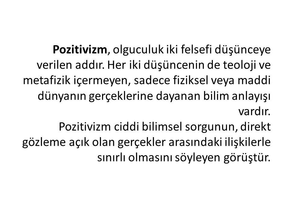 Pozitivizm, olguculuk iki felsefi düşünceye verilen addır. Her iki düşüncenin de teoloji ve metafizik içermeyen, sadece fiziksel veya maddi dünyanın g