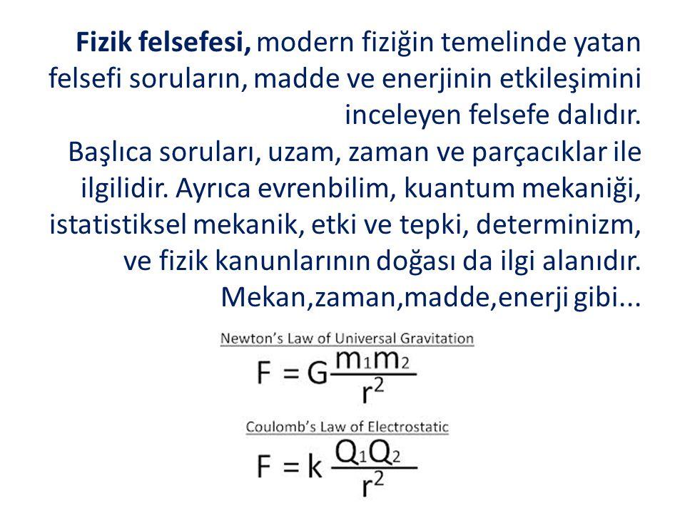 Fizik felsefesi, modern fiziğin temelinde yatan felsefi soruların, madde ve enerjinin etkileşimini inceleyen felsefe dalıdır. Başlıca soruları, uzam,
