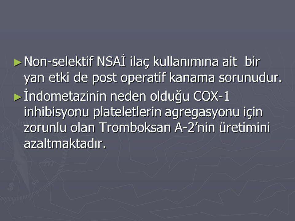 ► Non-selektif NSAİ ilaç kullanımına ait bir yan etki de post operatif kanama sorunudur. ► İndometazinin neden olduğu COX-1 inhibisyonu plateletlerin