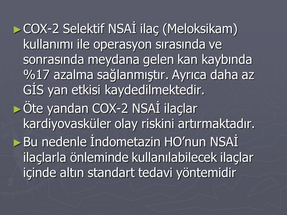 ► COX-2 Selektif NSAİ ilaç (Meloksikam) kullanımı ile operasyon sırasında ve sonrasında meydana gelen kan kaybında %17 azalma sağlanmıştır. Ayrıca dah
