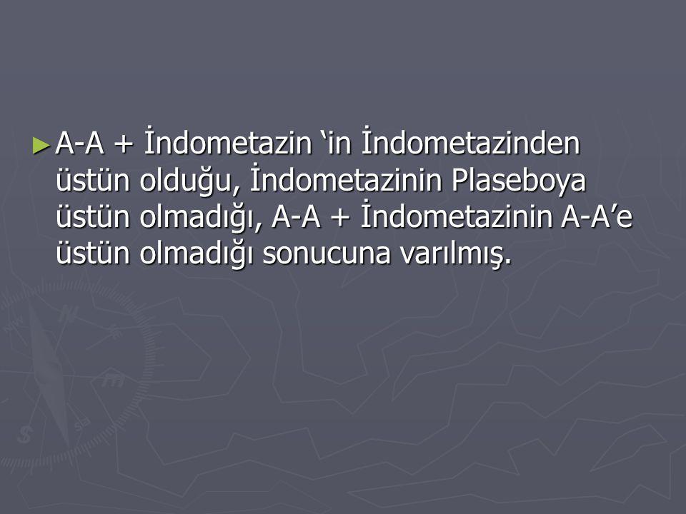 ► A-A + İndometazin 'in İndometazinden üstün olduğu, İndometazinin Plaseboya üstün olmadığı, A-A + İndometazinin A-A'e üstün olmadığı sonucuna varılmı