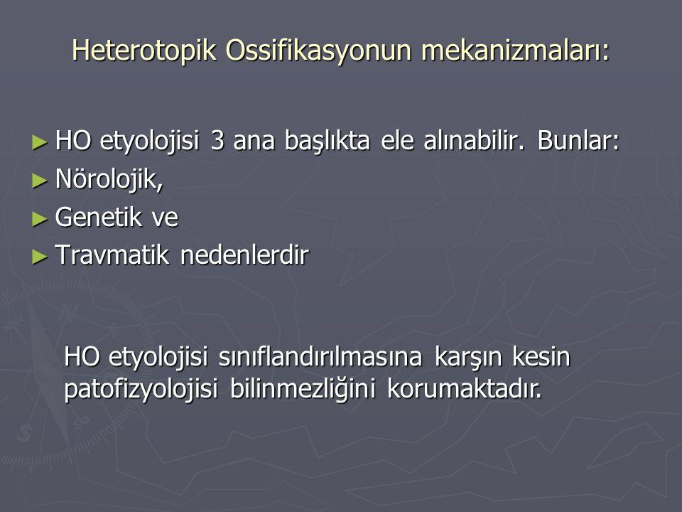 ► HO etyolojisi 3 ana başlıkta ele alınabilir. Bunlar: ► Nörolojik, ► Genetik ve ► Travmatik nedenlerdir Heterotopik Ossifikasyonun mekanizmaları: HO