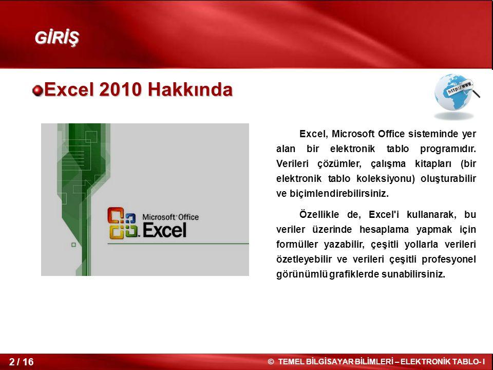 2 / 16 © TEMEL BİLGİSAYAR BİLİMLERİ – ELEKTRONİK TABLO- I Excel 2010 Hakkında Excel, Microsoft Office sisteminde yer alan bir elektronik tablo program