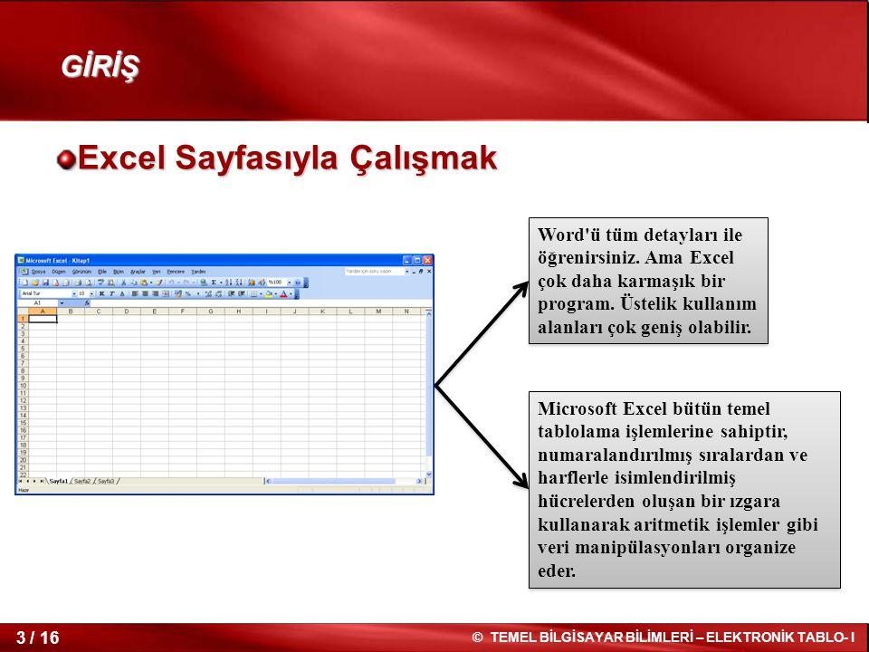3 / 16 © TEMEL BİLGİSAYAR BİLİMLERİ – ELEKTRONİK TABLO- I GİRİŞ Excel Sayfasıyla Çalışmak Word'ü tüm detayları ile öğrenirsiniz. Ama Excel çok daha ka