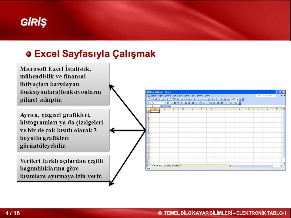 4 / 16 © TEMEL BİLGİSAYAR BİLİMLERİ – ELEKTRONİK TABLO- I Excel Sayfasıyla Çalışmak Excel Sayfasıyla Çalışmak GİRİŞ Microsoft Excel İstatistik, mühend