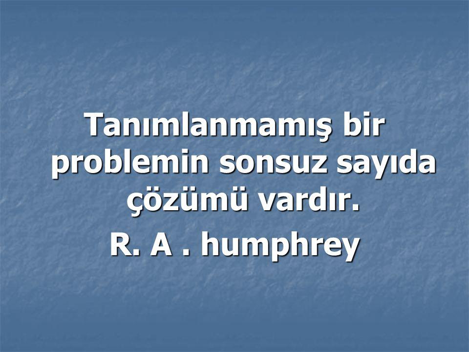 Tanımlanmamış bir problemin sonsuz sayıda çözümü vardır. R. A. humphrey