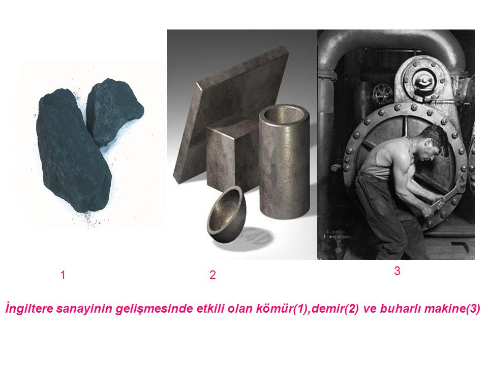 İngiltere sanayinin gelişmesinde etkili olan kömür(1),demir(2) ve buharlı makine(3) 12 3