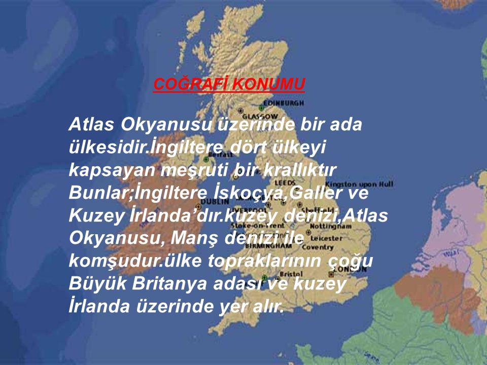 Atlas Okyanusu üzerinde bir ada ülkesidir.İngiltere dört ülkeyi kapsayan meşruti bir krallıktır Bunlar;İngiltere İskoçya,Galler ve Kuzey İrlanda'dır.kuzey denizi,Atlas Okyanusu, Manş denizi ile komşudur.ülke topraklarının çoğu Büyük Britanya adası ve kuzey İrlanda üzerinde yer alır.