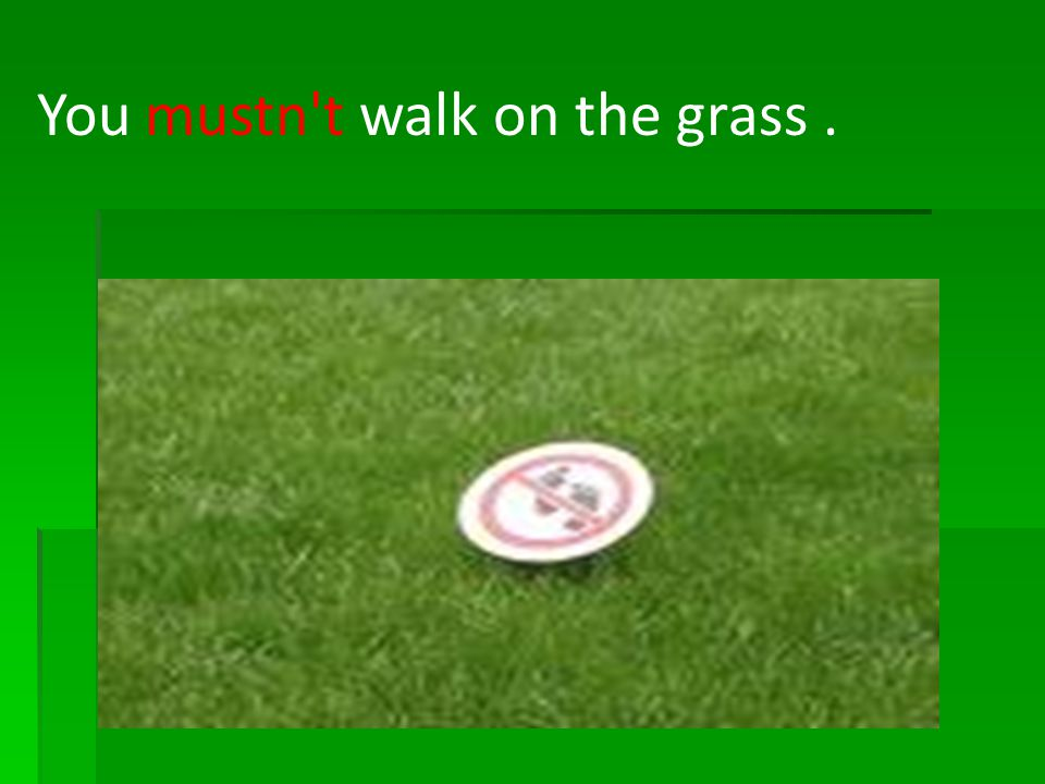 You mustn't walk on the grass.